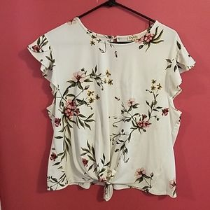 White Short Sleeved Floral Top